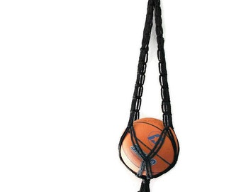 Basketball room decor Hanging storage Dorm room for boys Black macrame hanging basket Back to school Gift for him Dorm Decor Play room decor