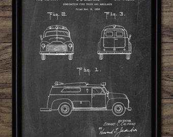 Ambulance Patent Print - 1954 Ambulance Design - Combined Fire Truck And Ambulance Invention - Single Print #1930 - INSTANT DOWNLOAD