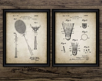 Badminton Patent Print Set Of 2 - Badminton Racket - Shuttlecock Design -  Printable Art - Set Of Two Prints #426 - INSTANT DOWNLOAD