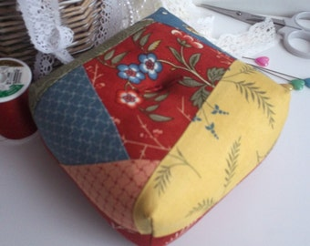 pincushion,patchwork pincushion,pin cushion,pincushions, crazy patchwork pin cushions,boxy pincushion,square crazy patchwork pincushion,uk