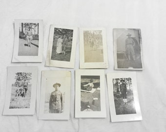 8 World War 1 Real Photo Postcard Soldiers AZO RPPC Portraits Posing Attention