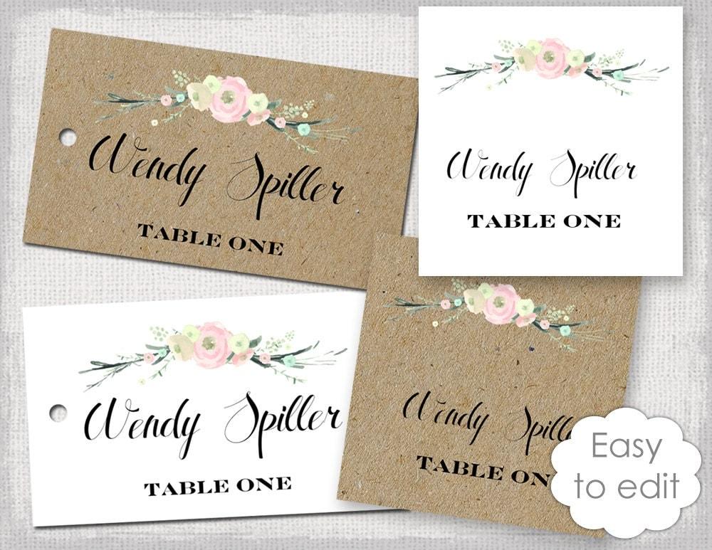 rustic name card template rustic flowers blush