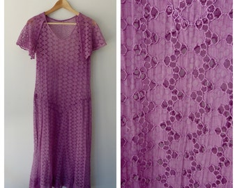 1920's Mauve Flutter Sleeve Dress