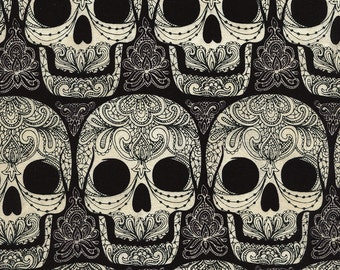 Skulls Fabric Fat Quarter, Half Yard, or By-The-Yard; C4579; Novelty Fabric; Timeless Treasures; Halloween