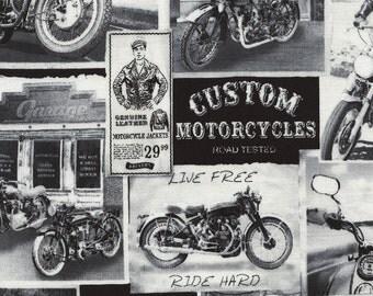 Vintage Motorcycle News Fabric Fat Quarter, Third Yard, Half Yard, or By-The-Yard; C3646; Novelty Fabric; Timeless Treasures; Biker