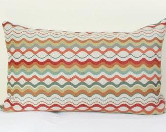 "Red orange green lumbar pillow cover 16""x26"" pillow cover Orange red pillow Orange green pillow Red green pillow 16x26 lumbar pillow"