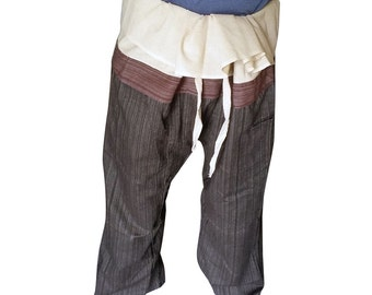 New Thai Fisherman Trousers Pants Cotton (Striped).