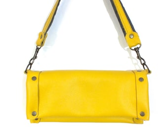 Sunshine Yellow Leather Clutch