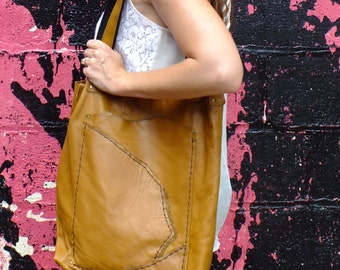 Dark Tan Leather Artist Tote, Handmade with upcycled pocket lining