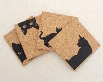 Black Cat Cork Coaster Set of 4