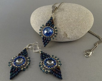 Pendant+Earrings Set//Blue//Silver//Denim//Geometry//Free Shipping