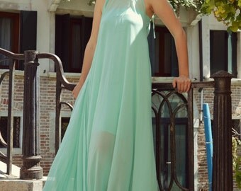 Turquoise Summer Kaftan TDK186, Turquoise Venetian Dress, Classy Maxi Dress, Summer Party Dress by TEYXO