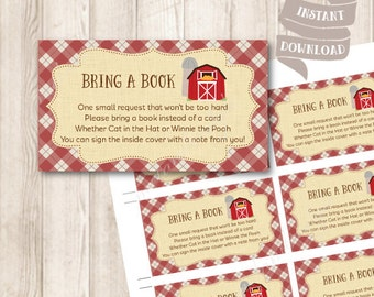 Farm Book Request Insert, Bring A Book Instead Of A Card, Rustic Barnyard Baby Shower Printable, INSTANT DOWNLOAD