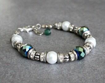 Green Bead Bracelet, Green Bracelets, Green Bead Bracelets, Green Bracelet, Green and Silver Bracelet, Green Glass Bracelets, Turquoise