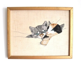 Vintage Framed Embroidered Cats