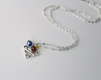 Superman Pendant DC Comic Inspired Jewelry Clark Kent Justice League Sterling Silver Necklace Chain Superman Symbol Charm DC Hero Geek Gift