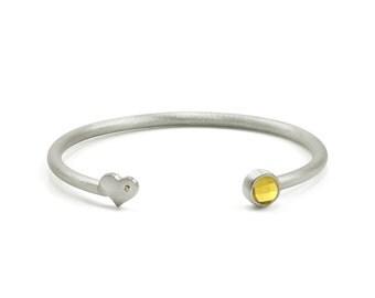 Citrine bracelet,silver cuff bracelet,simple everyday bracelet,sterling silver bangle,brushed silver cuff,brushed bracelet