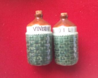 Vintage green ceramic Vinegar and Oil jugs