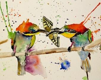 7x5 Watercolor birds painting