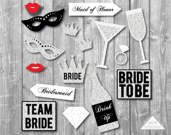 Bachelorette Photo Booth Signs, Bridal Shower Photobooth, Wedding Photobooth, Photobooth Props, Printable PDF, Silver Glitter Props, Instant