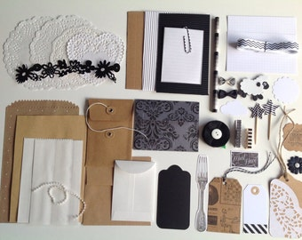 Inspiration pack, DIY kit, gift wrapping kit, black, Kraft and white kit