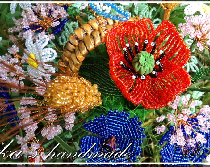 Bouquet of wild summer flowers in a basket spikes, cornflowers, daisies, poppy (25inch high)