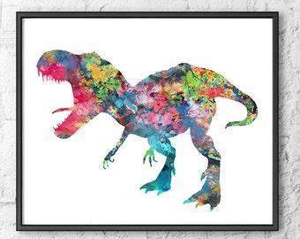 T-Rex Print, dinosaur print, dinosaur art, nursery dinosaur wall decor wall art home decor - H201