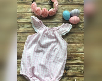 Baby Girls baby pink and white Easter gingham flutter sleeve playsuit romper.