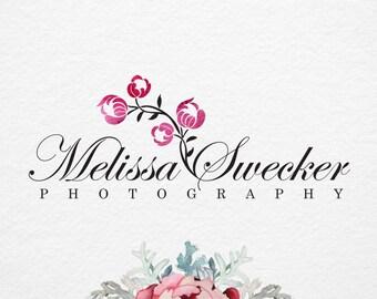 Flowers Logo, hand drawn logo, Photography Logo Design, Watercolor logo