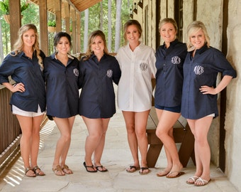 6 Bridesmaids Button Down Shirts, Oxford Monogrammed Button Downs, Getting Ready Shirts