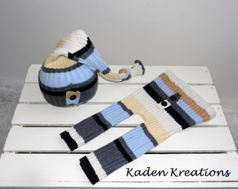 Upclycyled Newborn Photography Prop, Baby Posing Prop, Upcycled Newborn Outfit Striped in Baby Blue, Gray Black