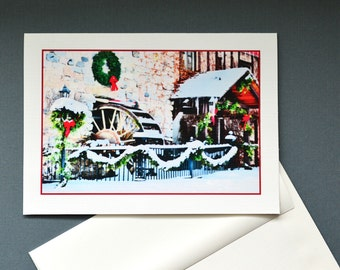 Greeting card, Holiday Spirit, winter decor, Christmas Card, blank or with a message inside, 5x7 card, Linen Card Stock, Picture Me Card