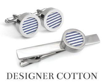 2nd Anniversary Gifts for Men / MARITIME Cufflinks and Tie Clip / Cotton Anniversary Gift for Him / Blue and White Stripes Designer Fabric