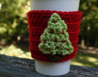 Coffee cup cozy, Crochet cup cozy, Christmas Tree cozy