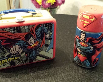 Superman Lunchbox and Thermos Salt & Pepper shaker set - collectible