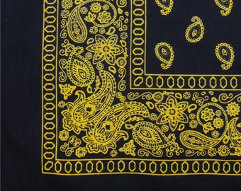 "Bandana - Black and Yellow Floral Paisley Cotton Bandanna 22"" square"