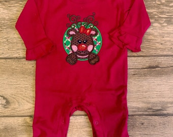 Girls ruffle romper with Christmas Applique
