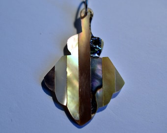 Vintage Mother of Pearl and Abalone Shell Intarsia Pendant (1060393)
