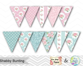 Printable Shabby Chic Bunting, Instant Download Shabby Chic Banner Tea Party Bunting Flags Blue Pink Flower Banner Shabby Party Bunting 0375