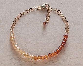 Jewelry Bracelet Gemstone beaded bracelet Garnet beaded gold bracelet