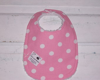 Sweet Pink with White Polka Dots Baby Bib !  FREE SHIPPING!!!!