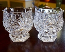 Lead Crystal; Votive Candle Cups; Set of Two; approx. 3 x 3 in; Made in the USA !!!