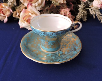 Corset Shape Blue Color with Gold Chintz Aynsley Tea Cup and Saucer Set