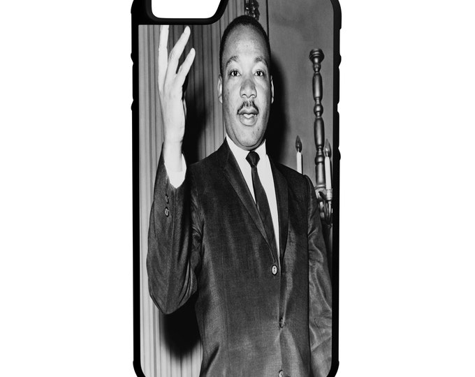 Dr Martin Luther King Jr iPhone Galaxy Note LG HTC Protective Hybrid Rubber Hard Plastic Snap on Case Black