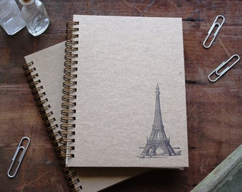 HARD COVER - Eiffel Tower -  Letter pressed 5.25 x 7.25 inch journal