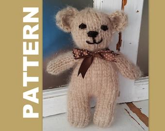 Bear Knitting PATTERN -Teddy Bear Pattern & Bunny knitting Pattern - Toy Pattern - Knitted stuffie bear knitting pattern - Toy bear