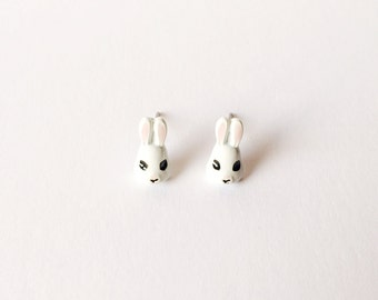 White Bunny Earrings - Bunny earrings - Fashion earrings - White bunnies - Post earrings - Stud earrings - White earrings - White rabbits