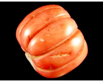 Antique Victorian Charming Natural Genuine Red Coral Craft Halloween Pumpkin Shape Bead