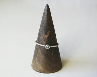 Made to Order Rose Cut Grey Diamond Ring Sterling Silver Diamond Ring Diamond Stacking Ring