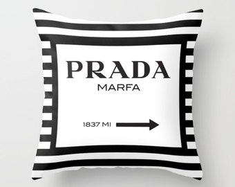 Prada Marfa Pillow, Fashion Decor, Teen Room Decor, 18x18 Pillow Cover, Black and White Stripes, Velveteen, Gifts for Her, Best Friend Gift
